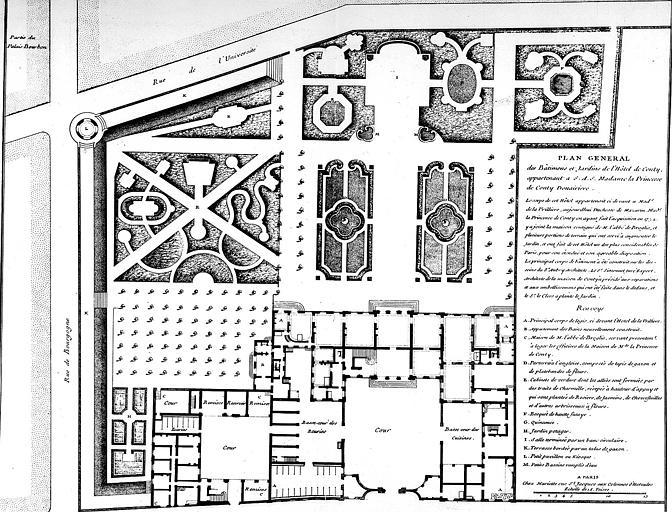 Gravure : Plan général des bâtiments et jardins