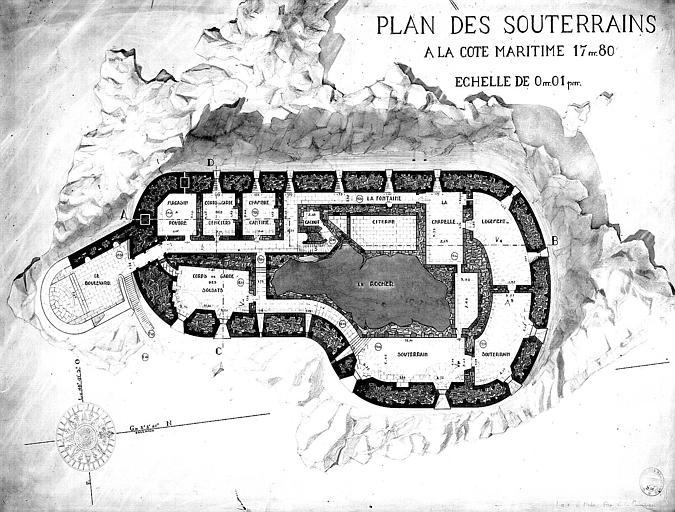 Plan des souterrains à la cote maritime 17,80 m