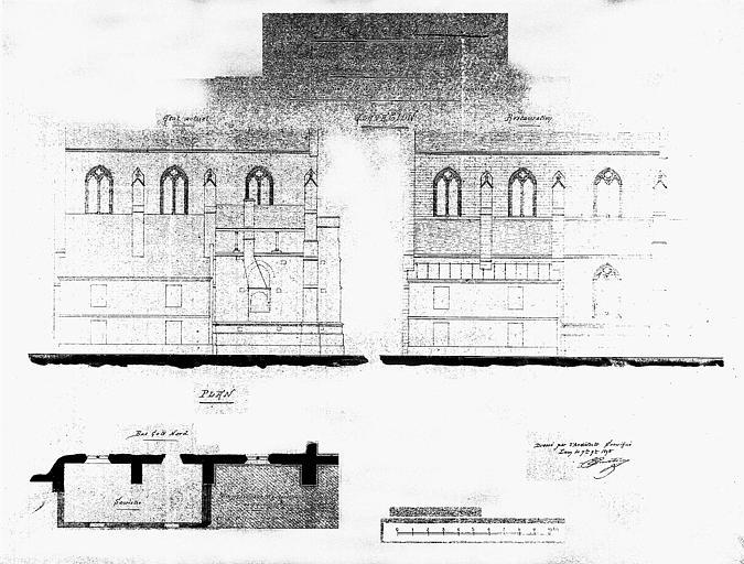 Plan des bas-côté nord et élévation de la façade longitudinale nord à l'emplacement de l'ancien presbytère (état actuel et état restauré)