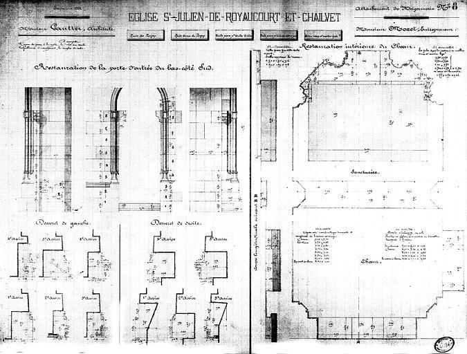 Restauration de la porte d'entrée du bas-côté sud et de l'intérieur du choeur : Plan et élévation (encre aquarellée)