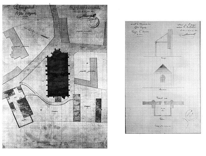 Projet de sacristie : Plan, coupe et élévation (plume et lavis), et plan de situation de l'église