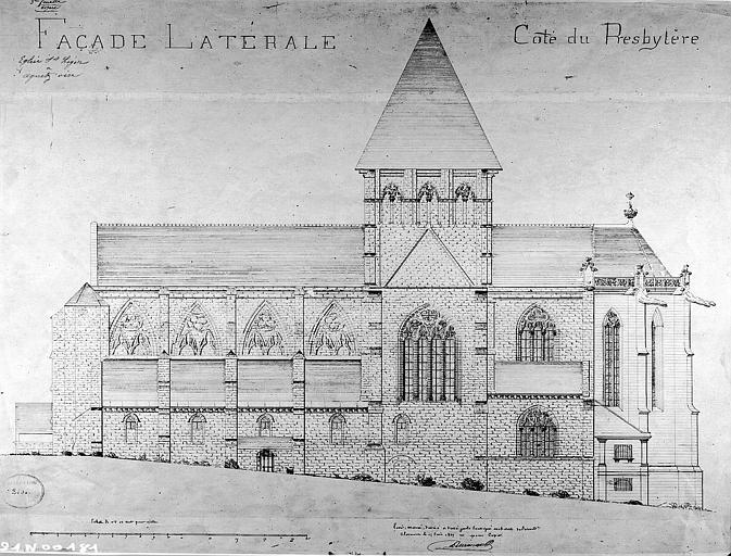 Elévation de la façade latérale du côté du presbytère (plume et aquarelle)