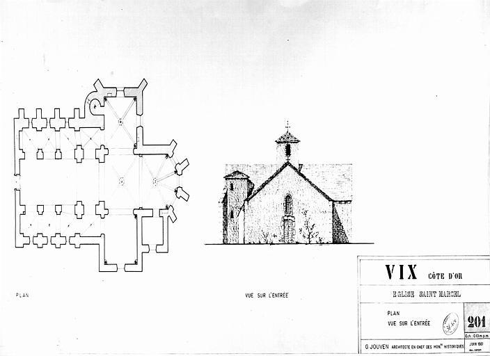 Plan et élévation de la façade de l'entrée