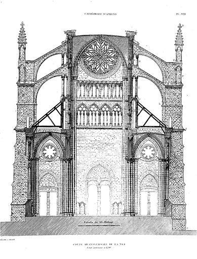 Héliogravure : Coupe transversale de la nef (état antérieur à 1290)