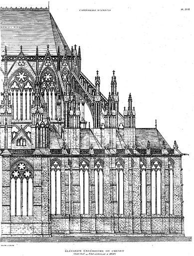 Héliogravure : Elévation extérieure du côté sud du chevet (état antérieur à 1850)