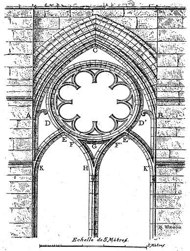 Gravure : Elévation d'une fenêtre du bas-côté de la nef