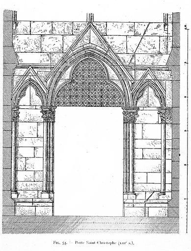 Gravure : Porte Saint-Christophe du 13e siècle