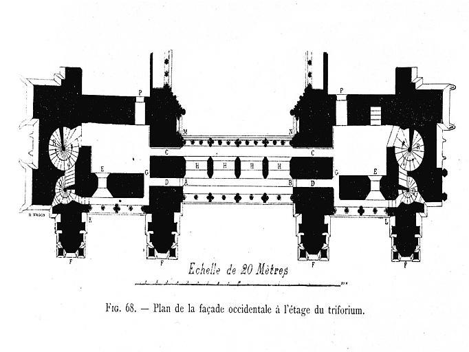 Gravure : Plan de la façade occidentale à l'étage du triforium