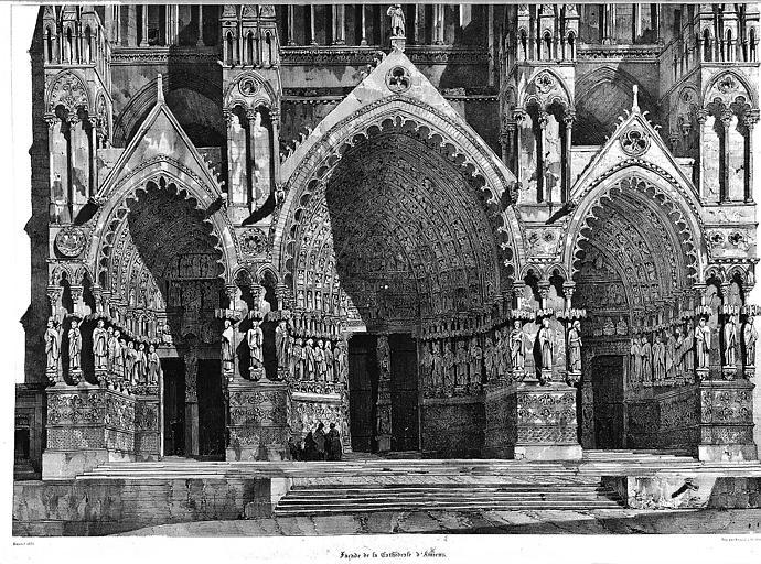 Lithographie : Les trois porches de la façade ouest