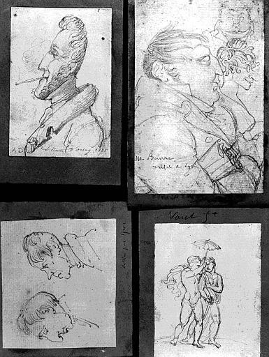 Quatre dessins : Portrait du comte d'Orsay (1), portrait de M. Banse, préfet de Lyon (2), Deux profils d'hommes (3), Couple nu (4)