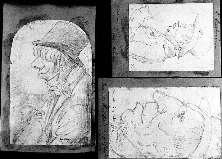 Trois dessins : Portrait de Gantreau, élève de David (1);Portrait de Thibaudeau (2);Portrait de M. de la Prade père (3)