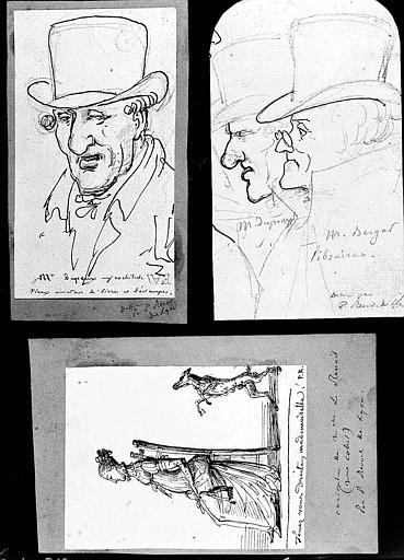 Trois dessins : Portrait de Louise Revoil (1);Portrait de M. Dupeux, architecte (2);Portrait de MM. Duport et Berger, libraires (3)