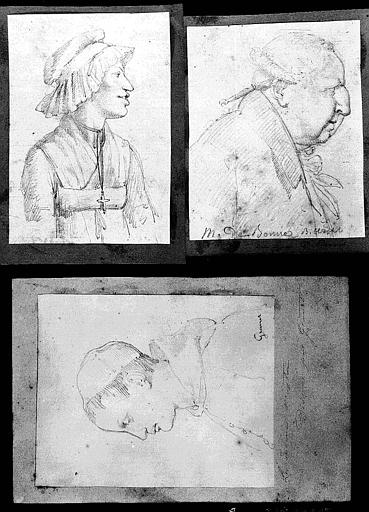 Trois dessins : Portrait du moine Mastaï (1);Portrait de la servante de Mme Récamier (2);Portrait de De Bonne, bibliophile (3)