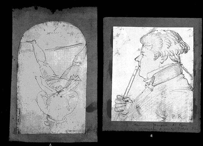 Deux dessins : Portrait d'homme (1);Portrait de M. Poupert, bibliophile et amateur d'objets d'art (2)
