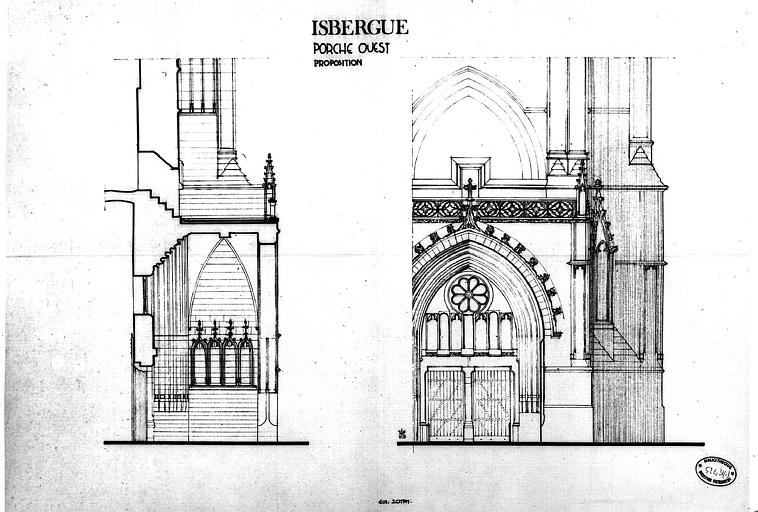 Proposition de restauration du portail ouest : Coupe et élévation