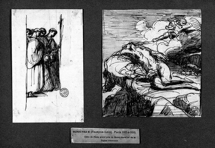 Deux dessins : Moines en procession (1), étude de nu (2)