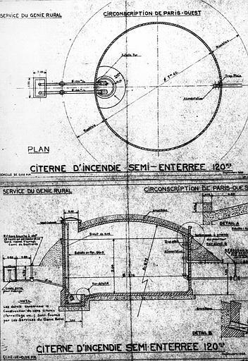 Citerne d'incendie de 120 m3 semi-enterrée : Plan et coupe