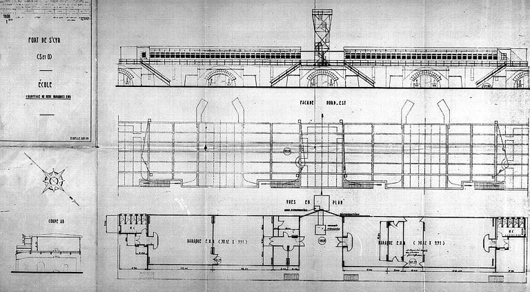 Chauffage de deux baraques : Elévation de la façade nord-est et plan