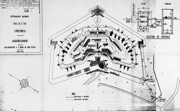 Assainissement et du raccordement à l'égout de Bois d'Arcy : Plan général et plan de la station de pompage