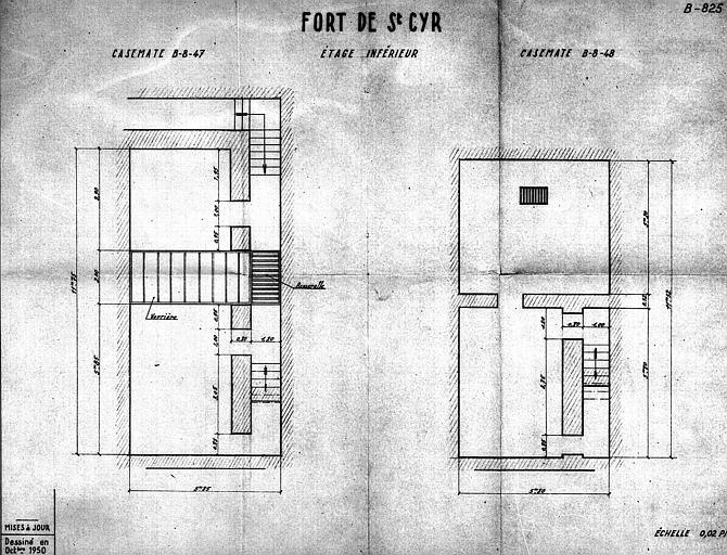 Plan de l'étage inférieur des casemates