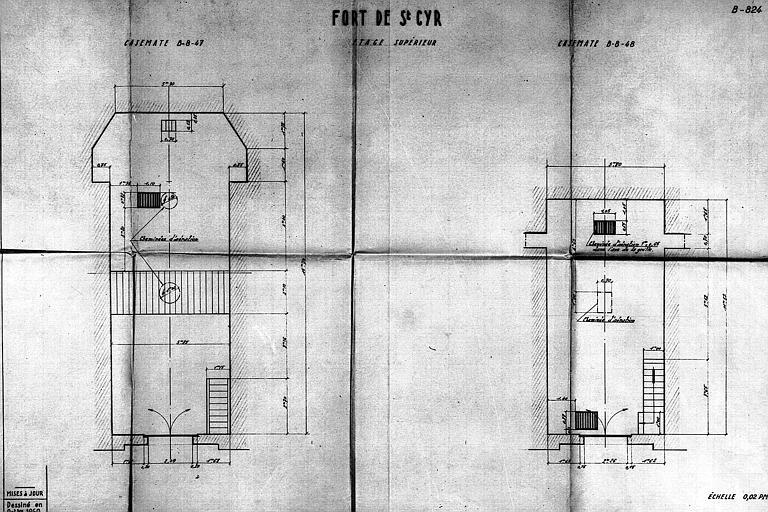 Plan de l'étage supérieur des casemates