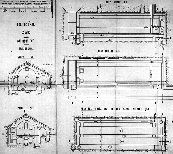 Plans et coupes du bâtiment G