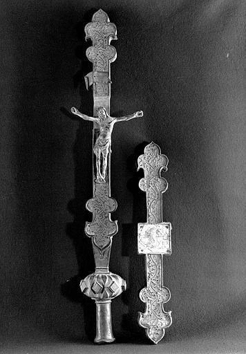 Croix processionnelle en cuivre doré
