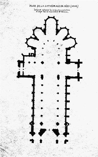 Plan indiquant seulement les constructions primitives et calqué dans un manuscrit de M. Alavoine
