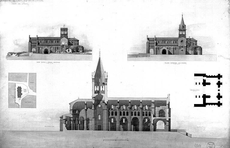 Elévations de la façade latérale sud (état actuel et projet de restauration), plan de situation, coupe longitudinale et plan du narthex