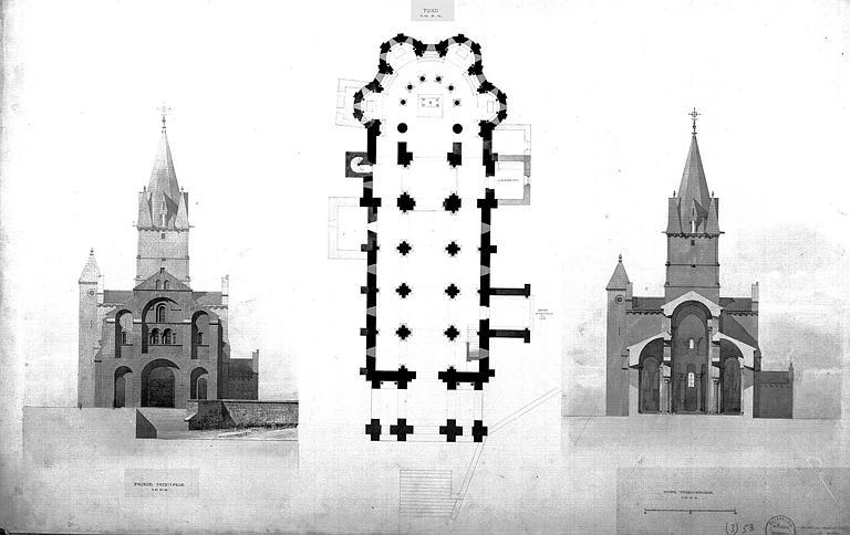 Plan général, élévation de la façade uest et coupe transversale sur la nef