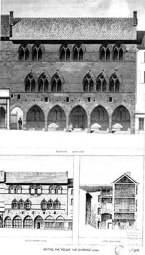 Elévation de la façade (état restauré), élévation de la façade et coupe (état actuel)