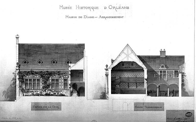 Projet d'agrandissement : Elévation de la façade sur cour et coupe transversale
