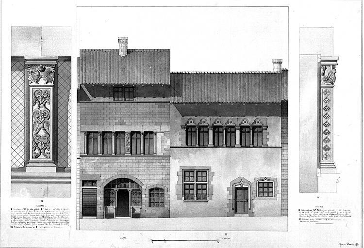 Elévation de la façade et détail de la décoration
