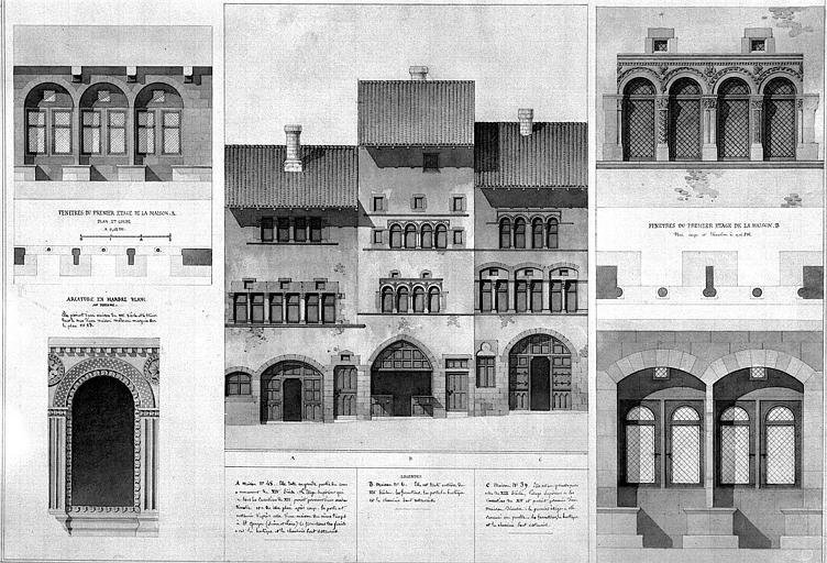 Elévation de la façade et détail des fenêtres