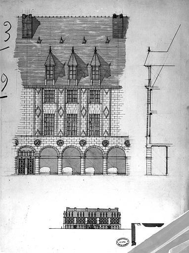 Projet d'architecture ordonnancée pour la place de l'ancien Hôtel de Ville : Schéma d'ensemble, élévation et coupe d'un immeuble