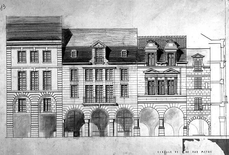 Projet de reconstruction d'une maison : Elévation et coupe d'une façade