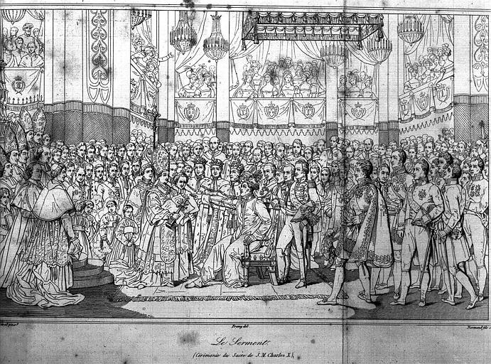 Gravure : Serment de la Charte constitutionnelle du Sacre de Charles X