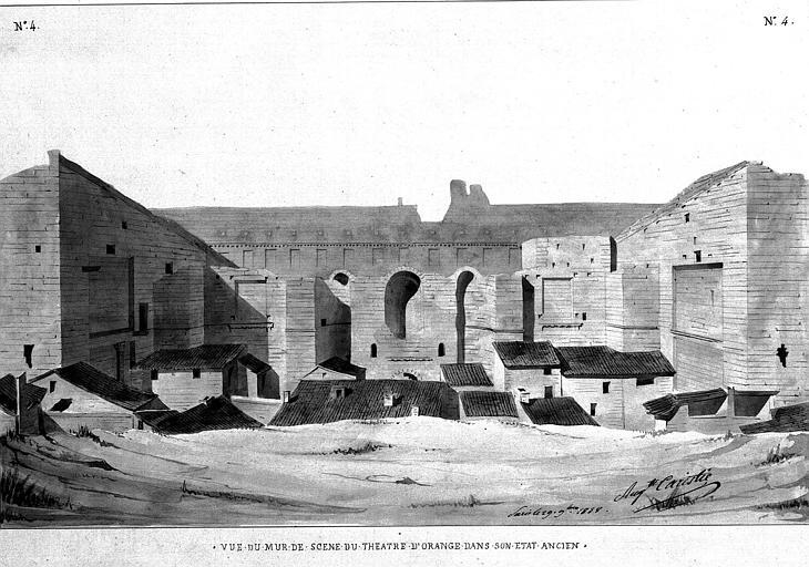 Dessin à la plume et aquarelle : Vue du mur de scène dans son état ancien (planche n° 4)