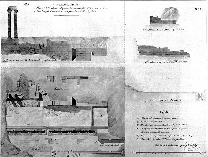 Découvertes faites de la partie de partie de la scène de l'orchestre et des gradins de l'hémicycle : Coupe et élévation (planche n° 8)