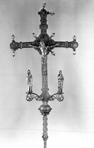 Croix processionnelle en argent et bronze doré sur âme de bois