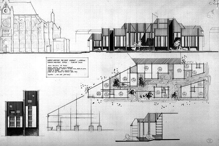 Projet d'immeuble dans le quartier Saint-Eustache : Plans, coupes, élévations