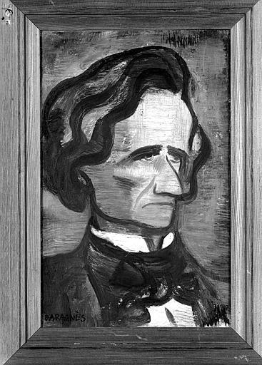 Peinture sur papier marouflé sur toile : Portrait d'Hector Berlioz