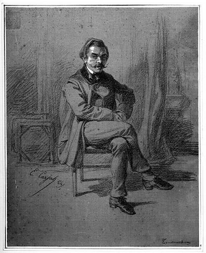 Dessin au crayon avec rehauts de blanc sur papier : Portrait de Félix Nadar (annoté b.d. Tournachon)