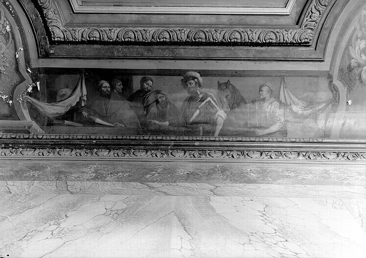 Peinture sur la corniche du plafond : Scène avec un guerrier