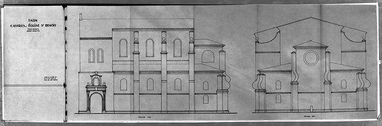 Elévations des façades sud et est