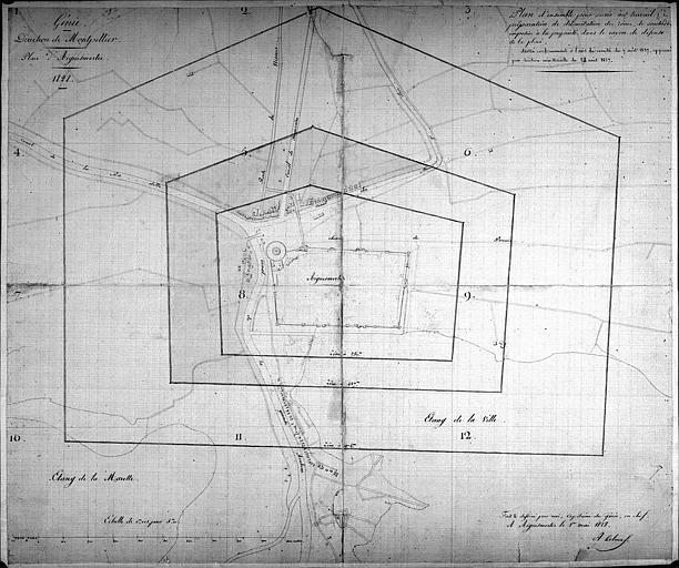 Délimitation du rayon de défense : Plan aquarellé