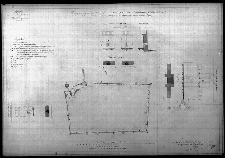 Projet pour démurer créneaux et porte des remparts : Plan et élévations aquarellées