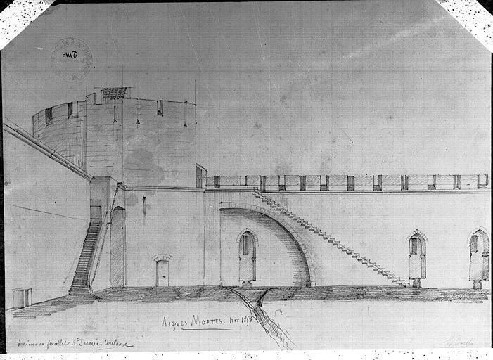 Dessin : Vue intérieure (avec au revers l'élévation d'une travée de Saint-Sernin de Toulouse)