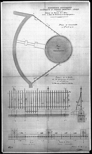 Plan des grilles d'élévation et de la clôture entre la tour Constance et les remparts