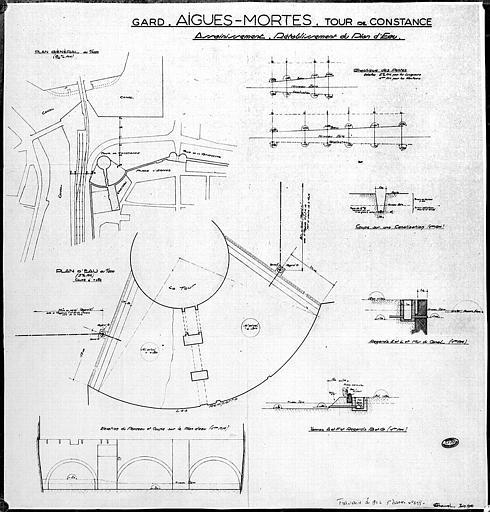 Assainissement et rétablissement du plan d'eau : Plans, élévation, coupe